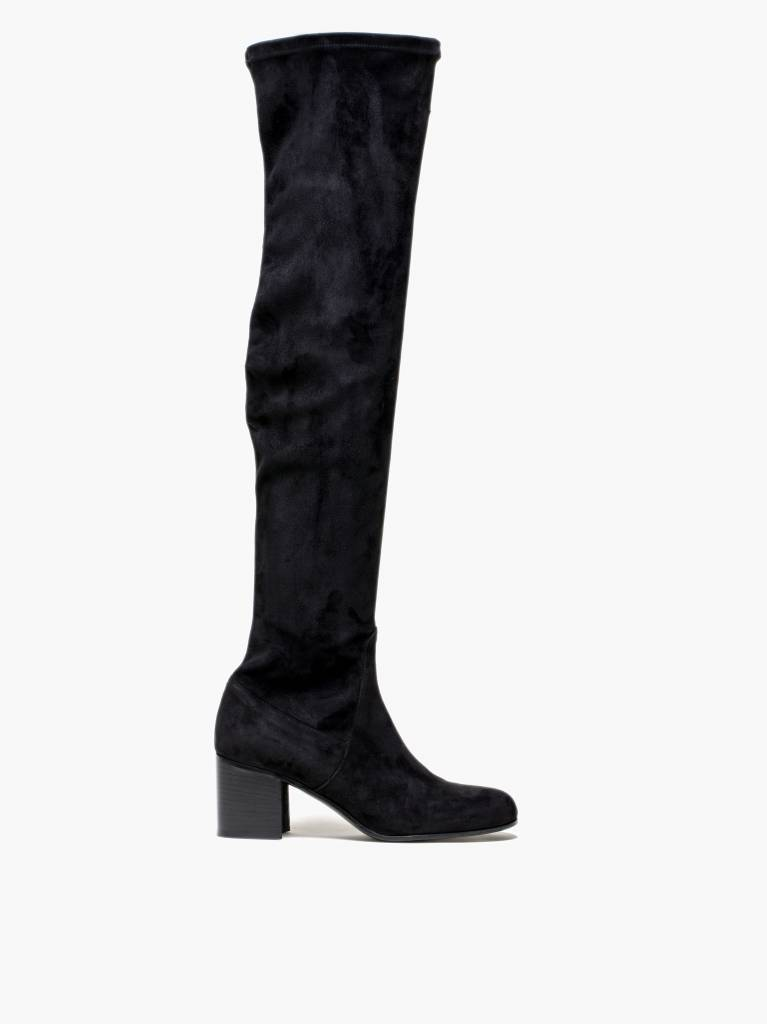 Michel Vivien Dalia long black suède boots