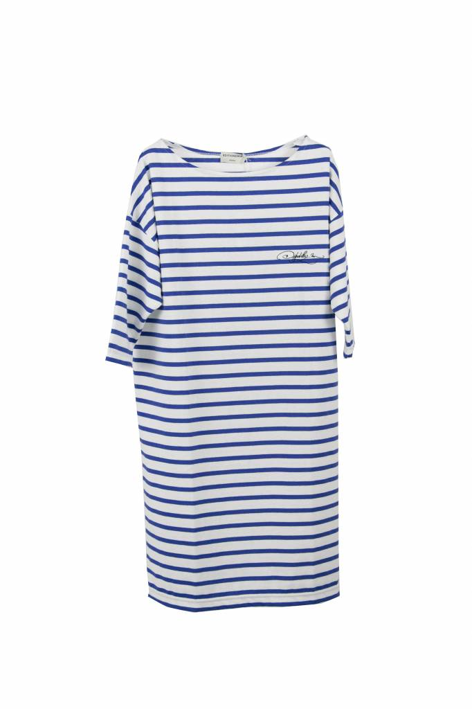 Editions M.R Lea dress Breton stripe white indigo