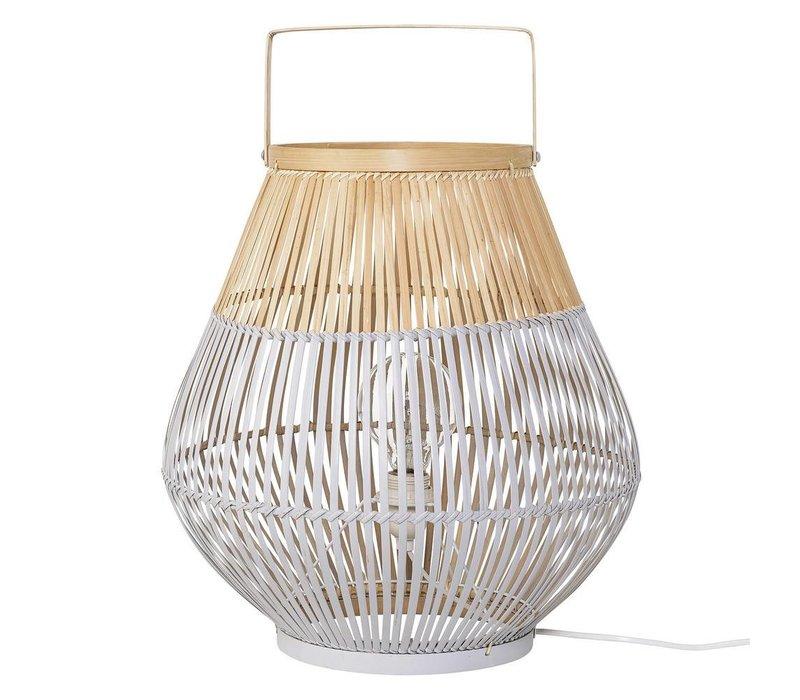 Vloerlamp bamboe, naturel/grijs