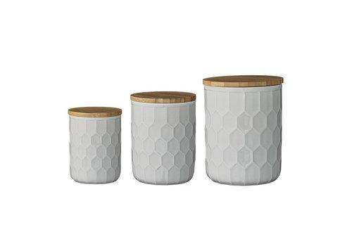 Bloomingville Voorraadpot met bamboe deksel grijs  3 stuks
