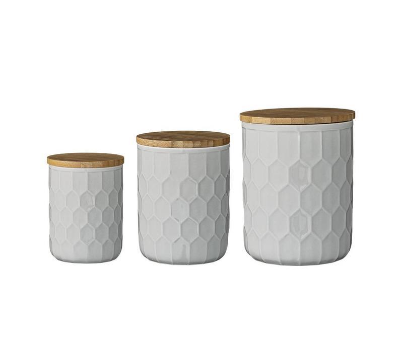 Voorraadpot met bamboe deksel grijs  3 stuks