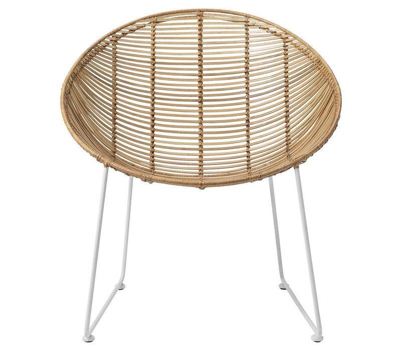 Rotan loungestoel - nature rattan / white legs