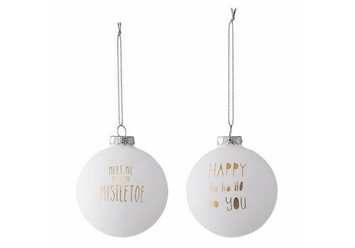 Bloomingville Kerstballen, wit met goud - 2 stuks