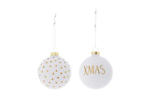 Bloomingville Kerstballen, wit, glas - 2 stuks
