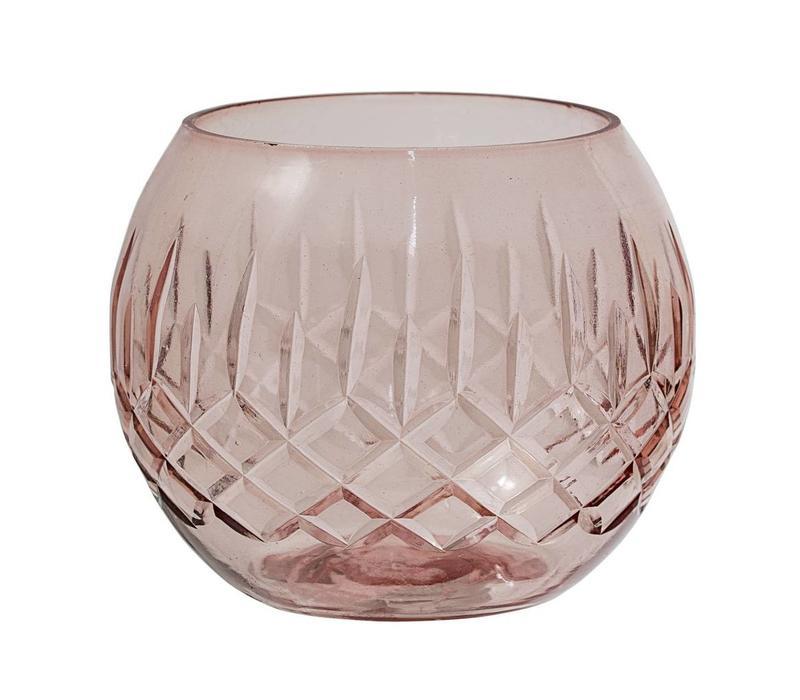 Theelichthouder, glas, roze