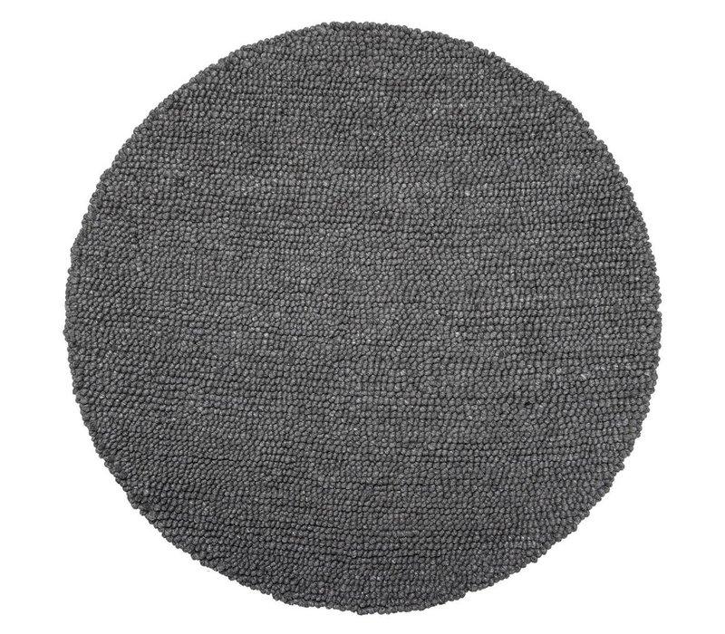 Rond Tapijt wol grijs