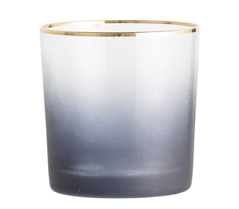 Theelichthouder, grijs, glas