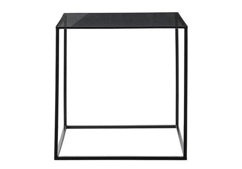 Bloomingville bijzettafel black frame / smoke glass top