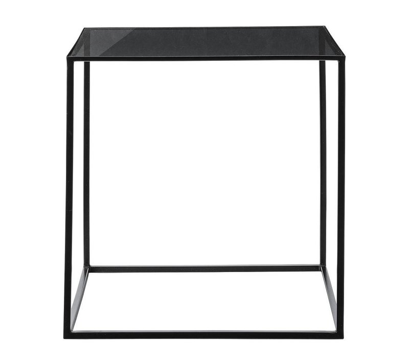bijzettafel black frame / smoke glass top