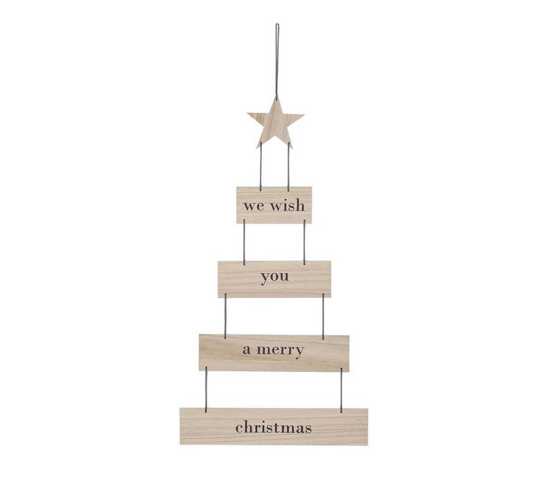 Hangende kerstboom naturel/grijs