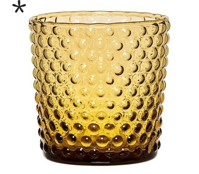 Theelichthouder glas amber