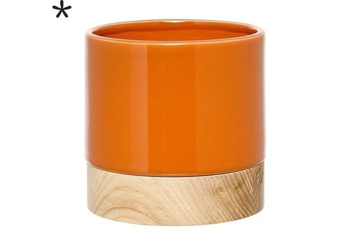 Bloomingville Bloempot oranje/essenhout