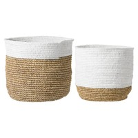 Manden wit/naturel raffia - set van 2