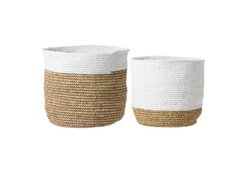 Bloomingville Manden wit/naturel raffia - set van 2