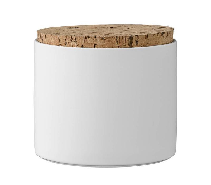 Voorraadpot met deksel wit Ø11xH11,8 cm