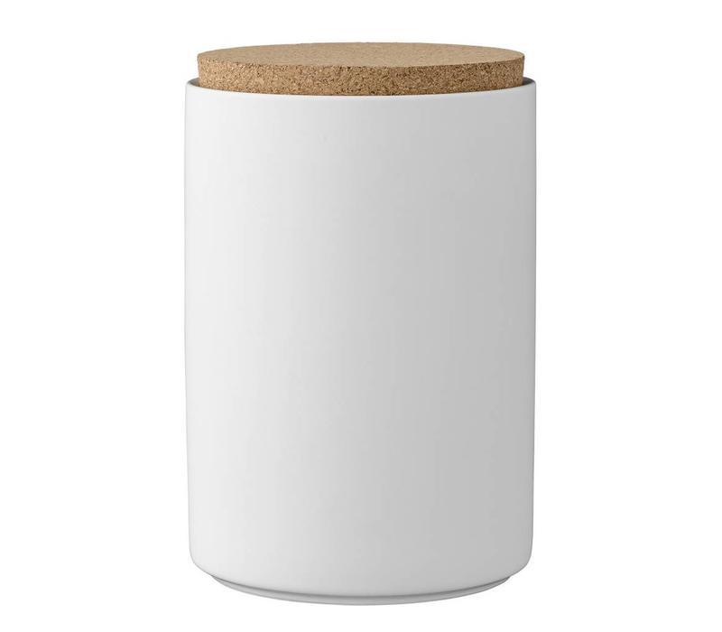 Voorraadpot met deksel wit - Ø11xH16 cm
