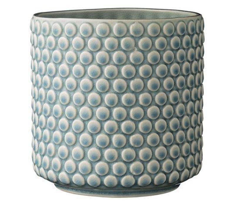 Flowerpot, bubble structure, sky blue 15,5x15,5 cm