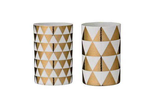 Bloomingville Theelichthouders - white/gold - set van 2