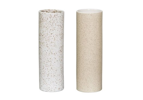 Bloomingville Vase, Offwhite w/Brown  and Matte