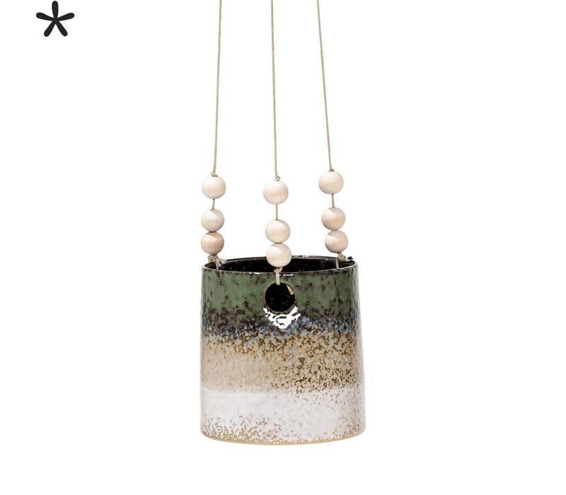 Hangende bloempot groen/zand