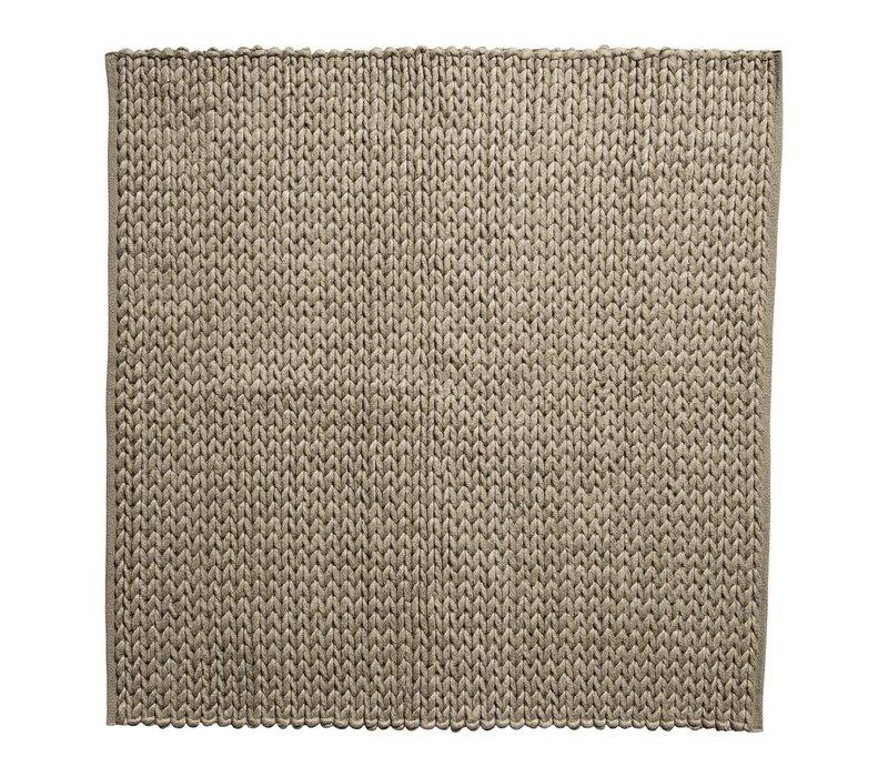 Tapijt wol bruin 150x150 cm
