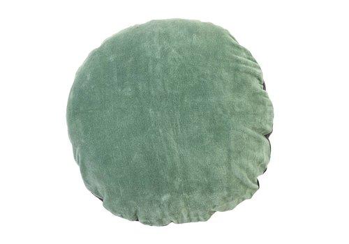 Bloomingville Rond kussen, smaragdgroen fluweel