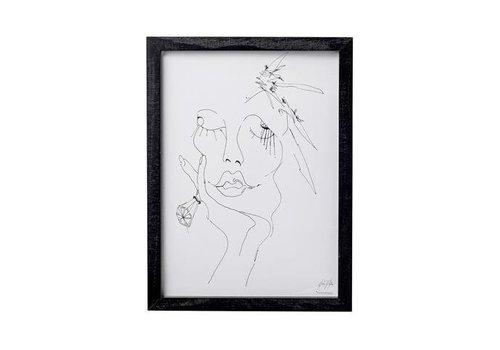 Bloomingville Frame sketched woman 1, black