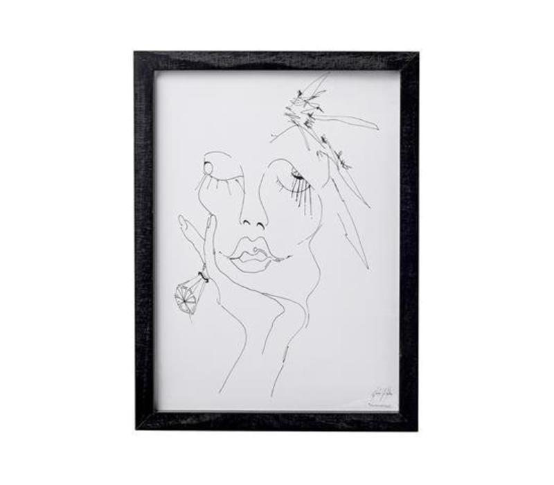 Frame sketched woman 1, black