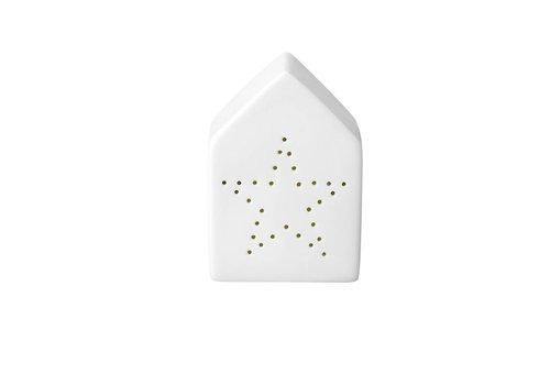 Bloomingville Theelichthouder, huisvorm - witte porselein