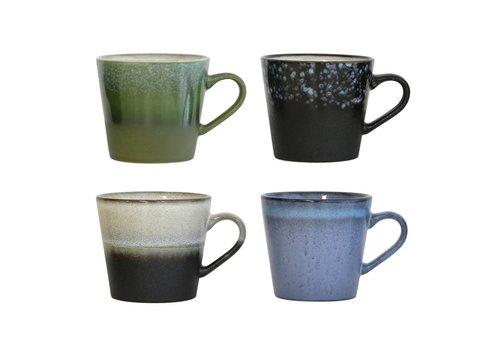 HK Living 70's cappuccino mokken - set van 4