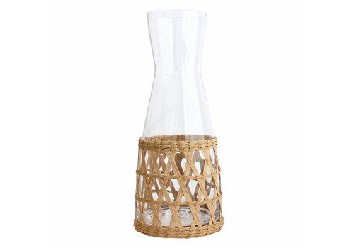 HK Living Glazen kan met rieten handvat