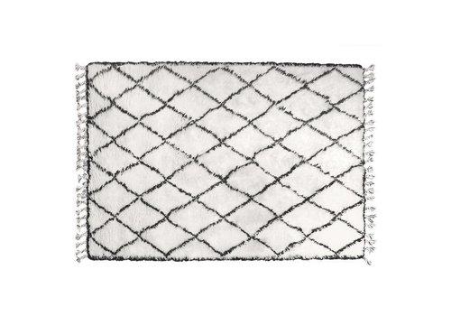 HK Living Zwart/wit berber tapijt