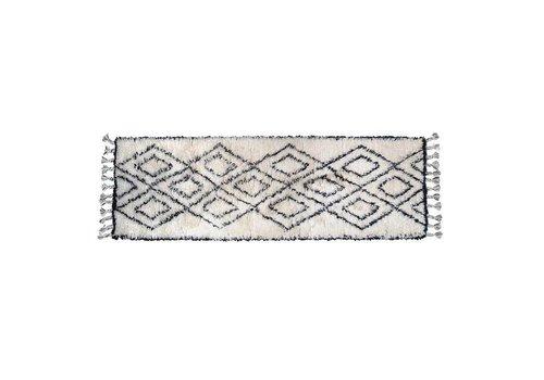 HK Living Zwart/wit berber tapijt runner