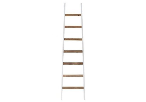 HK Living Witte ladder met teakhouten treden