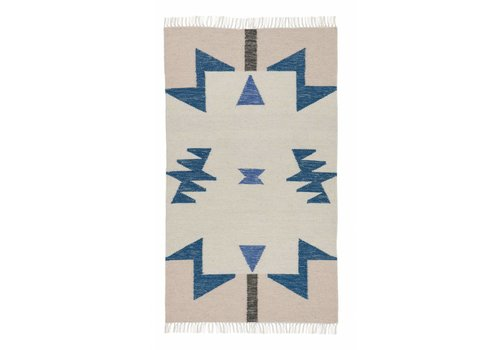 Ferm Living Kelim tapijt - blue triangles 80 x 140 cm