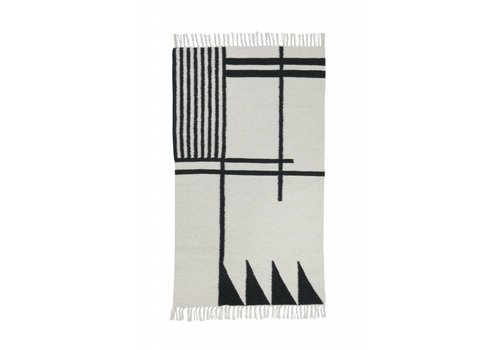 Ferm Living Kelim tapijt - black lines - small