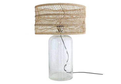 HK Living Fles tafellamp met rieten kap