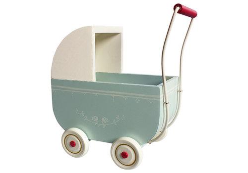 Maileg Kinderwagen lichtblauw hout large