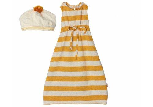 Maileg Mega maxi konijn, geel gestreept kleedje