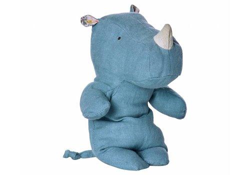 Maileg Safari friends, kleine neushoorn knuffel, blauw