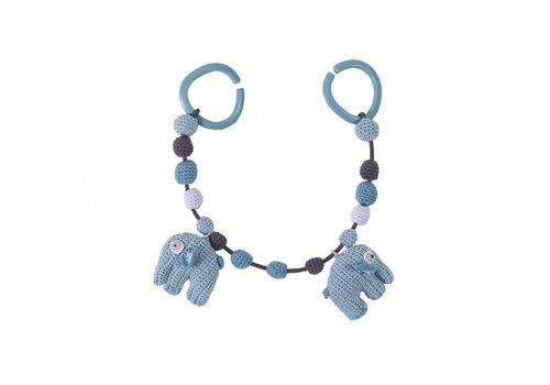 Sebra Kinderwagenspanner blauwe olifantjes gehaakt