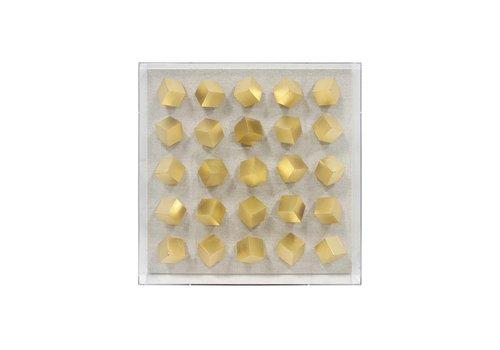 HK Living plexi kunstframe gouden kubus