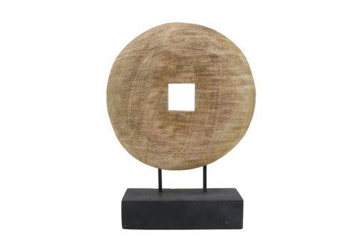 HK Living houten wiel ornament naturel