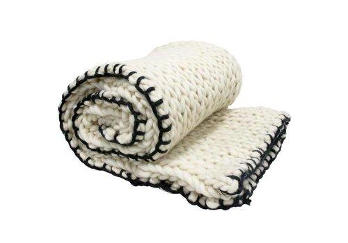 HK Living bedsprei gebreid wol (120x180)