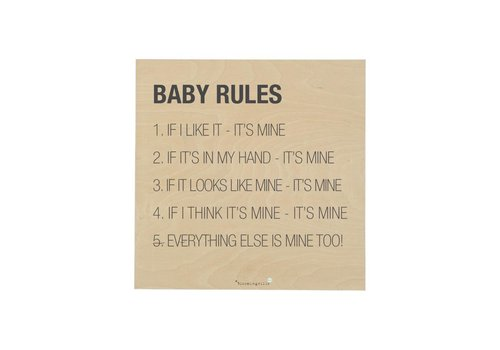 Bloomingville Plaat : Baby Rules