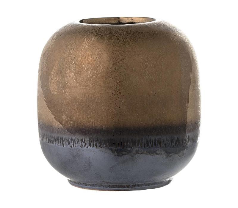 Bronzen stenen vaasje Ø 10.5 x H 10.5 cm