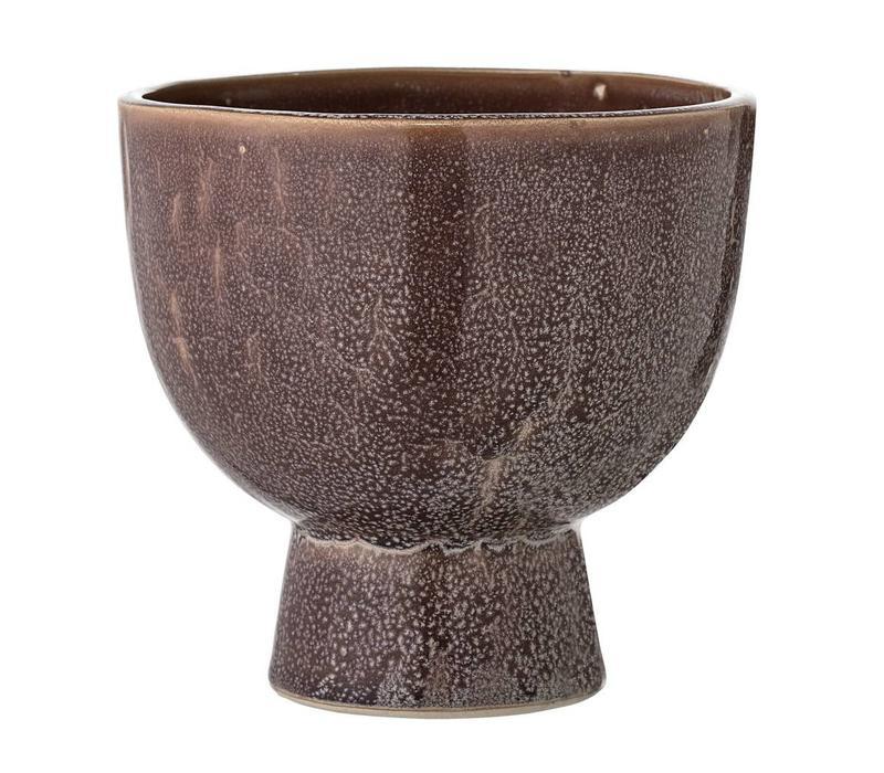 Bruine stenen bloempot Ø 15 x H 15 cm