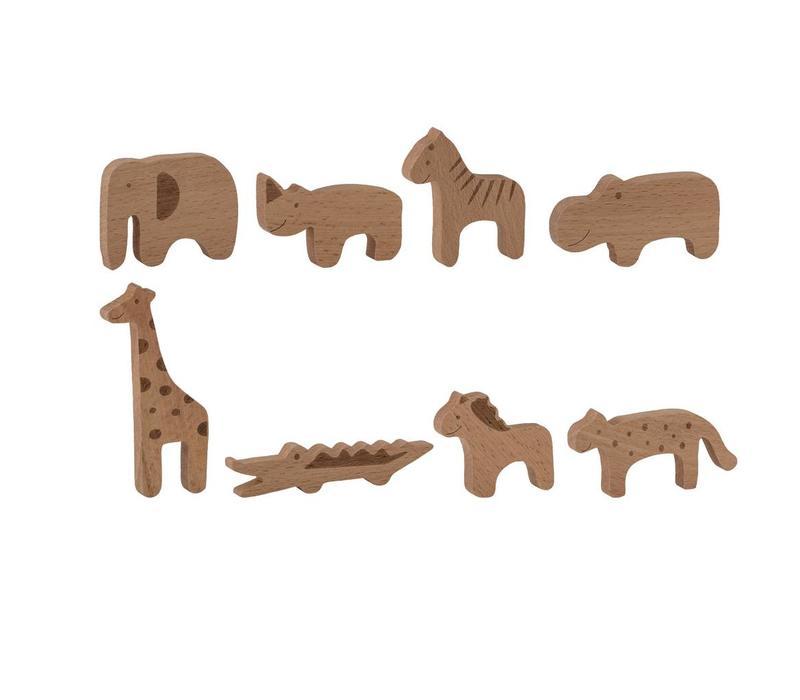 Houten dieren naturel set van 8 stuks