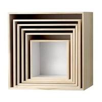 Opberg- en wandboxen vierkant natuur/wit