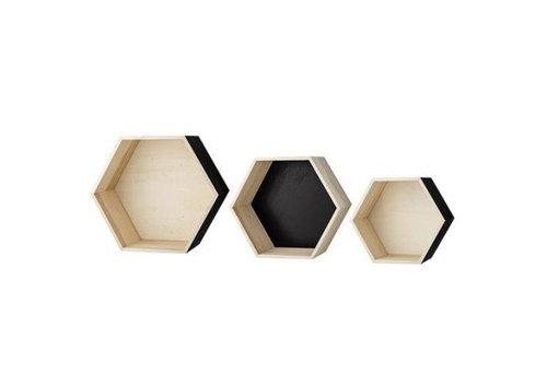 Bloomingville Opberg- en wandboxen zeshoekig natuur/zwart